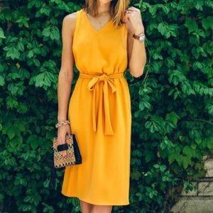Ann Taylor NWT Marigold Yellow Tie Waist Dress